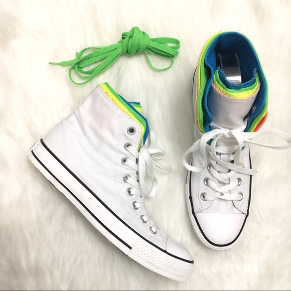 5de6c849cd2efd Converse High Top Neon White Layered Unisex Shoes